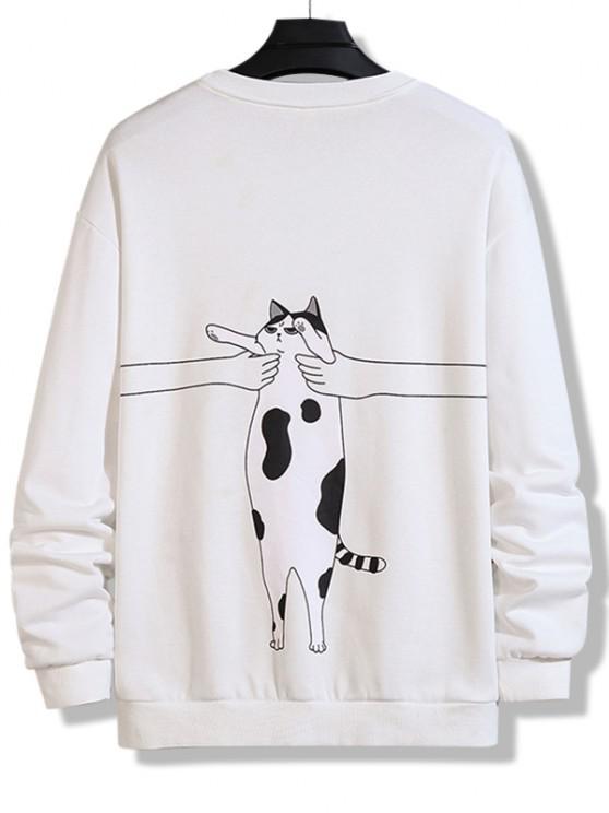 Letter Cat Print Crew Neck Sweatshirt - أبيض S