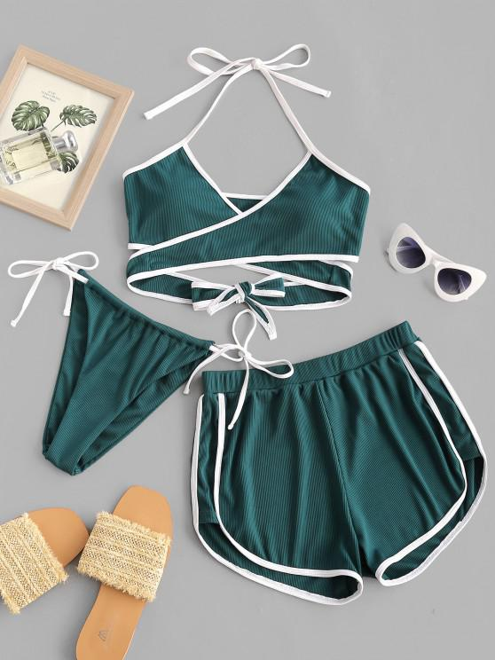 buy ZAFUL Ribbed Contrast Trim Wrap Three Piece Bikini Swimwear - DEEP GREEN M