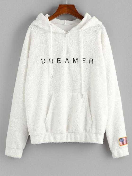 women's ZAFUL American Flag Dreamer Embroidered Quarter Zip Teddy Hoodie - WHITE XL