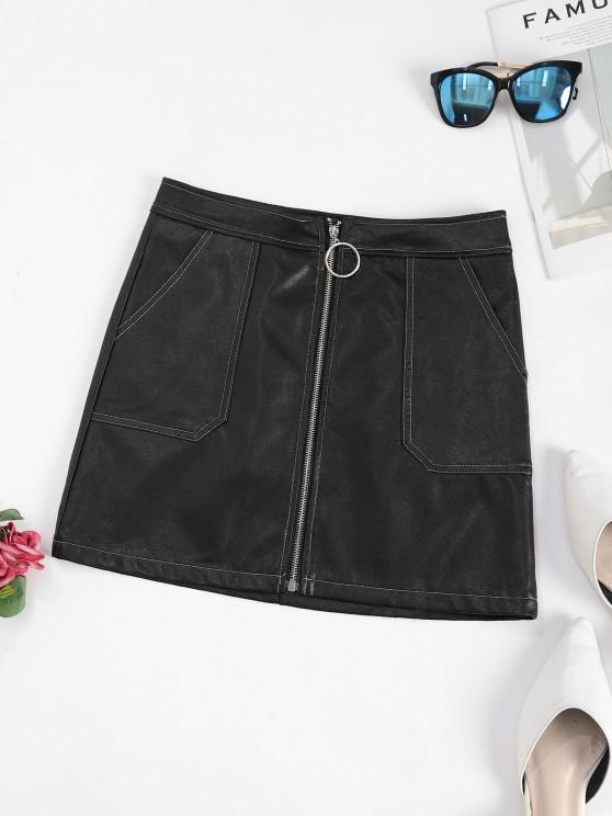 ladies Contrast Stitching Zip Up PU Leather Mini Skirt - BLACK L