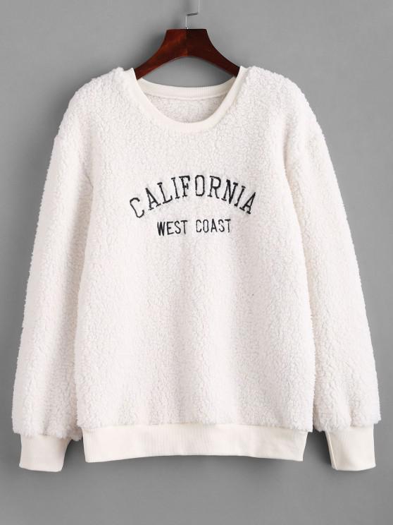 ladies Fluffy CALIFORNIA Embroidered Teddy Sweatshirt - WHITE S