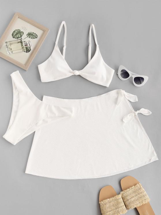 women ZAFUL Ribbed Knotted High Leg Three Piece Bikini Swimwear - WHITE M