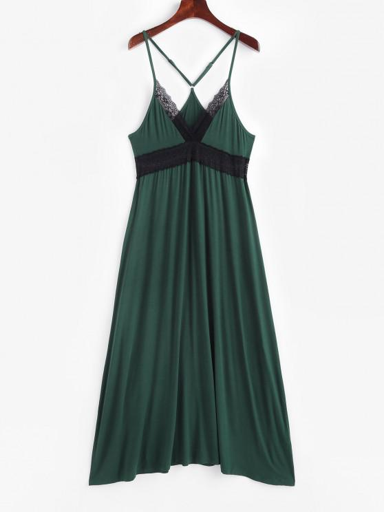 outfit Sleep V-back Lace Panel Nightgown - DARK GREEN L