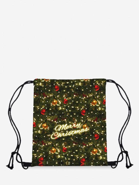 Christmas Letter Digital Print Cinch Bag - Dark Forest Green