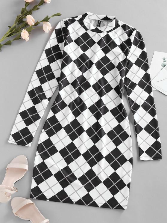 sale ZAFUL Plaid Houndstooth Bodycon Mini Dress - MULTI-A S