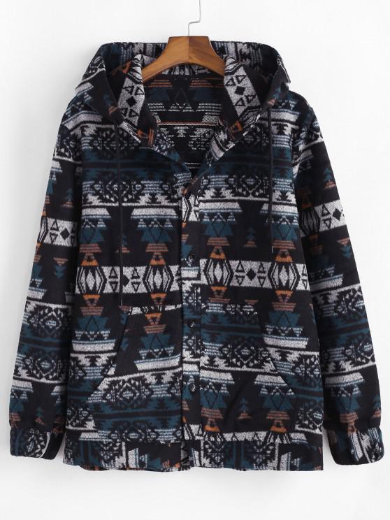 buy Ethnic Tribal Pattern Hooded Jacket - BLUE XL