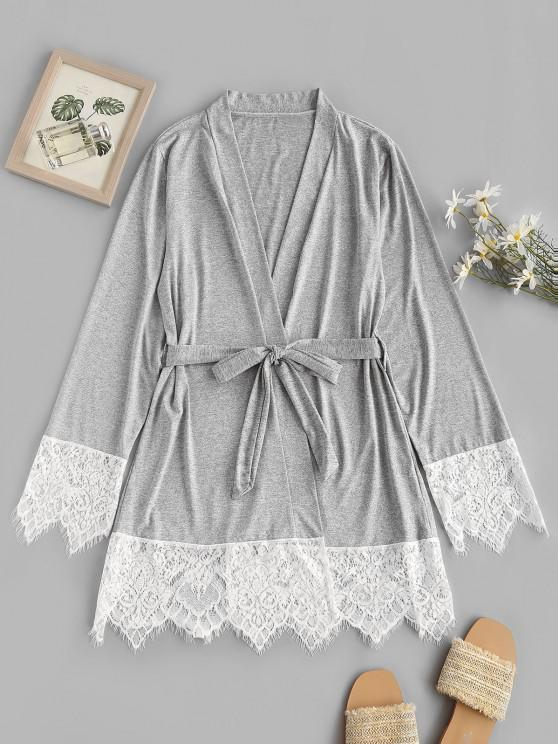 unique Contrast Lace Eyelash Trim Marbled Robe - GRAY S
