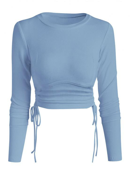 unique Ribbed Side Cinched Crop Top - LIGHT BLUE S