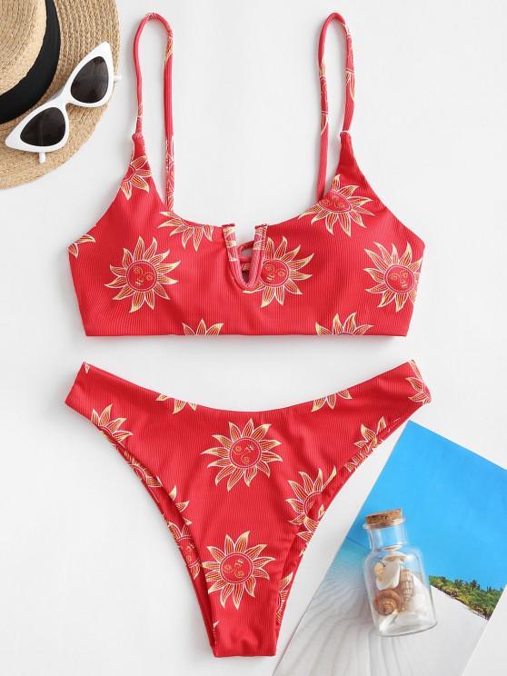 sale ZAFUL Sun Print Ribbed Lace Up V Wired Bikini Swimwear - DEEP RED S