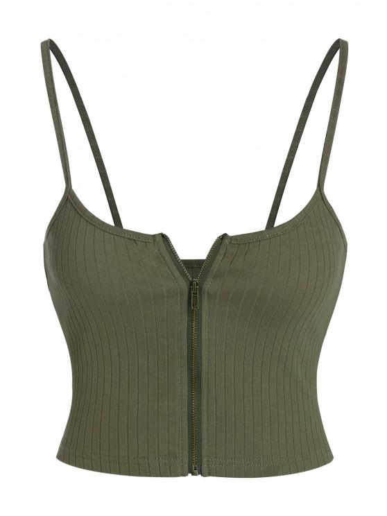 affordable ZAFUL Ribbed Zip Front Crop Camisole - ARMY GREEN M