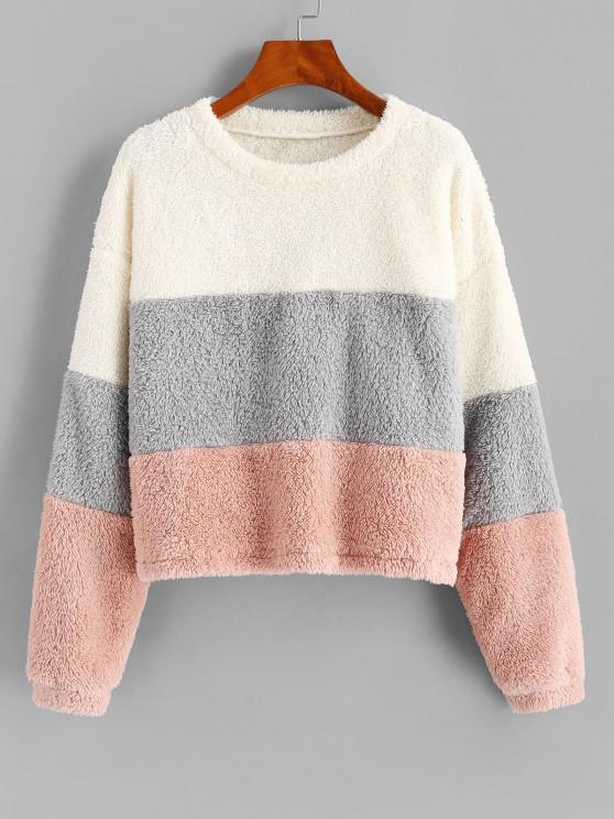 ZAFUL Plush Faux Fur Color Blocking Sweatshirt - متعددة-A S