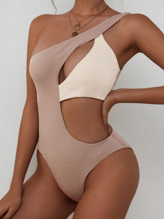 outfits ZAFUL Ribbed Two Tone Cutout One Shoulder Swimsuit - LIGHT COFFEE S