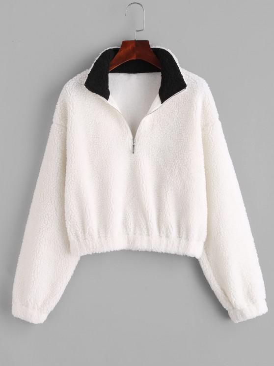 shops ZAFUL Half Zip Drop Shoulder Teddy Sweatshirt - WHITE S