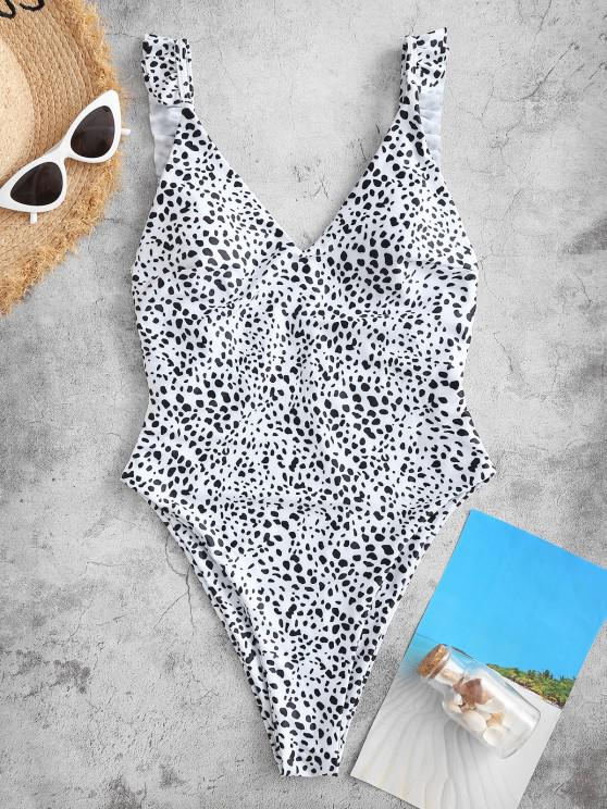 buy ZAFUL Reversible Leopard Dalmatian Heart Valentine One-piece Swimsuit - WHITE S