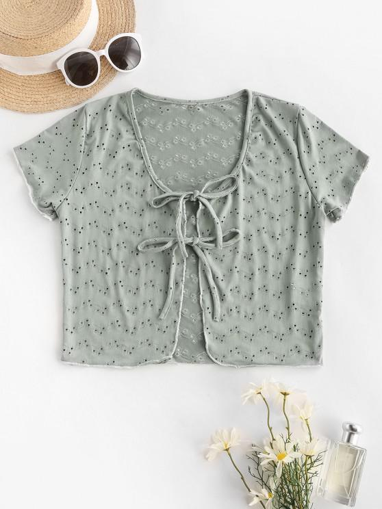 lady Tie Knot Eyelet Cover-up Top - DARK SEA GREEN ONE SIZE