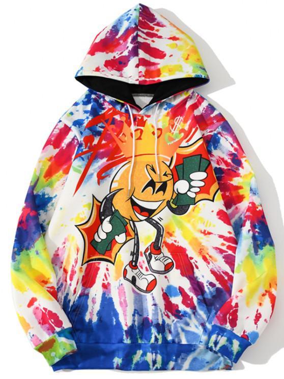 fancy Funny Cartoon Pattern Tie Dye Hoodie - BRIGHT YELLOW XL