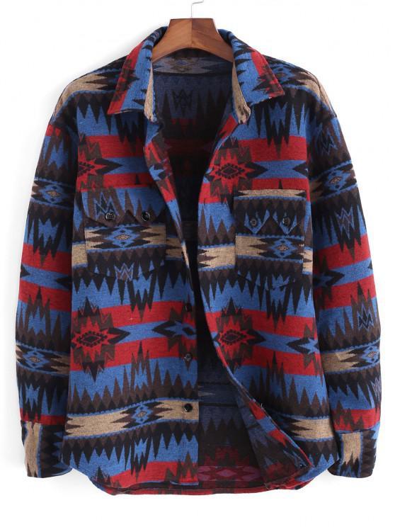 shops Ethnic Tribal Pattern Pocket Button Up Jacket - BLUE L