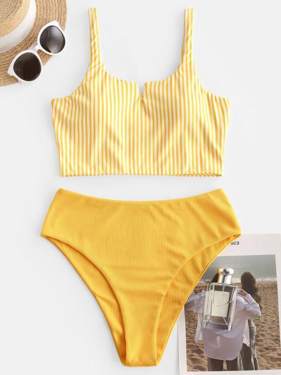best ZAFUL Ribbed Striped V Wired Tankini Swimwear - RUBBER DUCKY YELLOW S