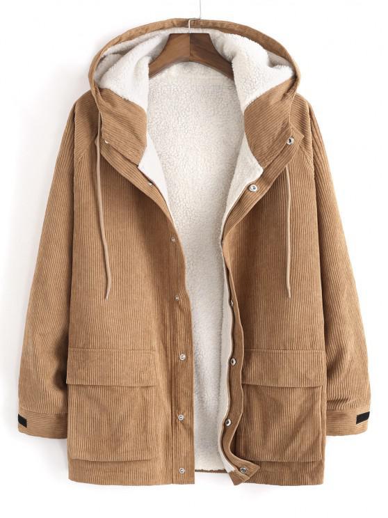 fashion Faux Fur Raglan Sleeve Hooded Corduroy Jacket - LIGHT COFFEE M