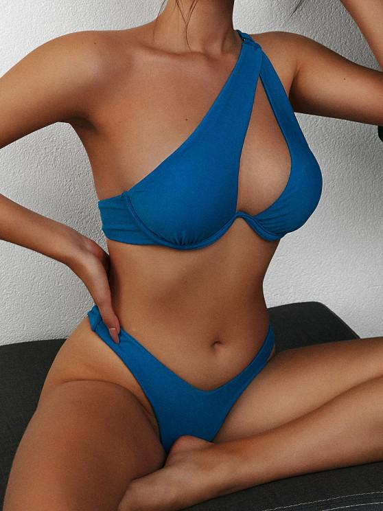 outfit ZAFUL One Shoulder Underwire Cutout High Cut Bikini Swimwear - DEEP BLUE L