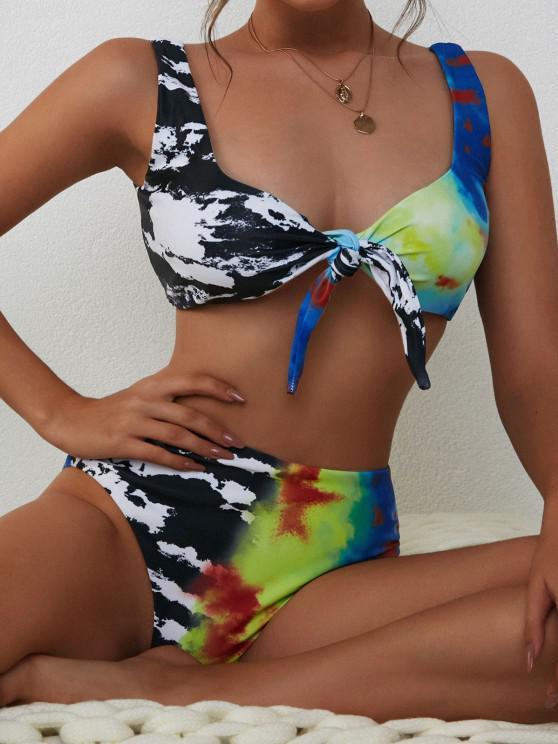 chic ZAFUL Tie-dye High Waisted Bikini Swimwear - BLACK S