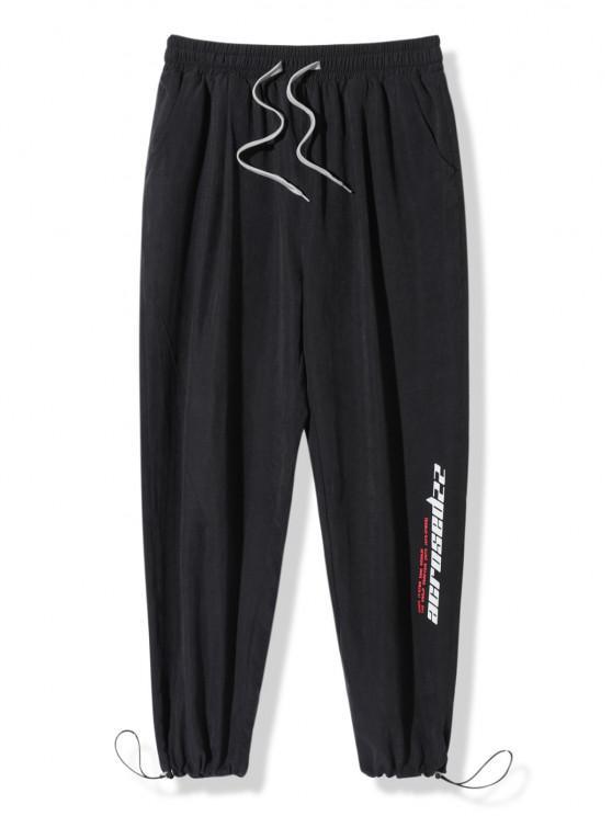 Pantalon Lettre Imprimée à Taille Elastique - Noir L