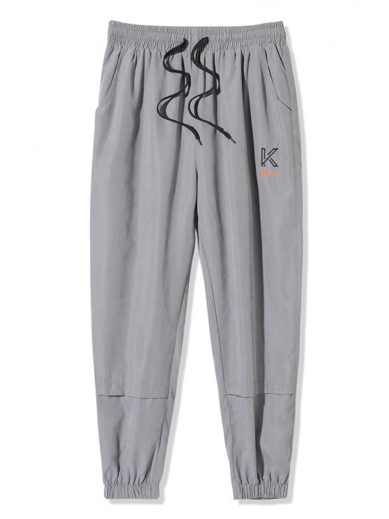 fancy Embroidery Letter Beam Feet Pants - GRAY M