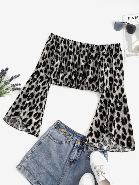 Flare Sleeve Off Shoulder Leopard Blouse - أسود XL