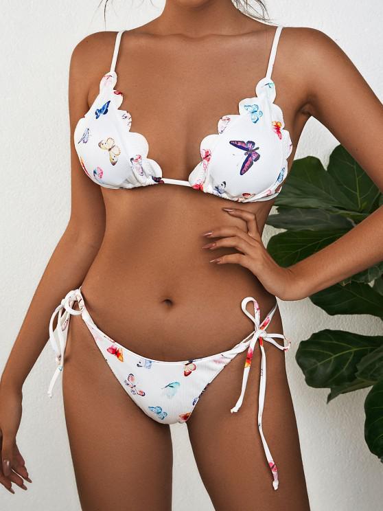 women's ZAFUL Side Tie Butterfly Print Scalloped Bikini Swimwear - WHITE S