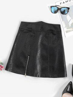Zippered Front Angled Waist PU Leather Skirt - Black L