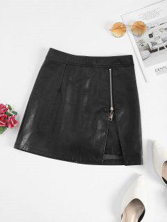 Zippered Notched Front PU Leather Mini Skirt - Black L