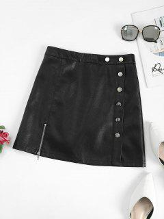Zippered Front Mock Button PU Leather Mini Skirt - Black L