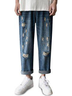 Zipper Fly Destroyed Tapered Pants - Silk Blue M