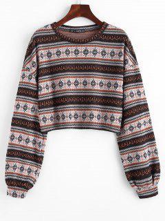 Ethnic Cropped Knitwear - Coffee M