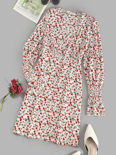 Knopf Schleife Winziges Blumen Kittel Ärmel Minikleid - Multi M
