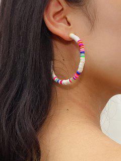Bohemian Soft Ceramic C Shape Earrings - Multi-a
