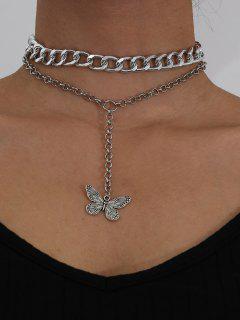 2Pcs Butterfly Pendant Necklace Set - Silver