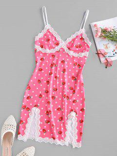 ZAFUL Strawberry Dots Print Slip Dress - Light Pink L
