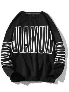 Letter Pattern Crew Neck Pullover Sweatshirt - Black Xl