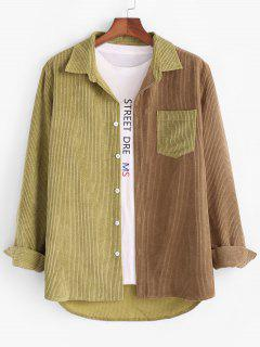 Colorblock Panel Pocket Patch Corduroy Shirt - Coffee S