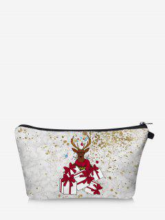 Christmas Elk Gift Print Makeup Bag - White