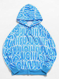 Sweat-Shirt à Capuche DécontractéLettreImprimée à Goutte Epaule - Bleu Clair S
