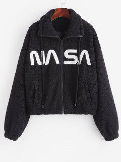 Drawstring Zip Up Embroidered Teddy Coat - Black S