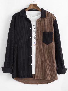 コントラスト色ポケットコーデュロイレジャーシャツ - コーヒー 2xl