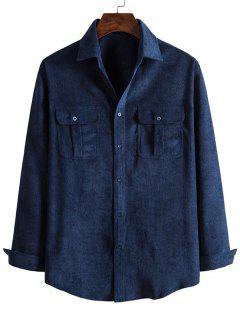 Double Pockets Button Down Corduroy Shirt - Cadetblue L