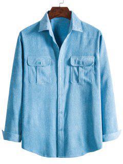 Double Pockets Button Down Corduroy Shirt - Crystal Blue L