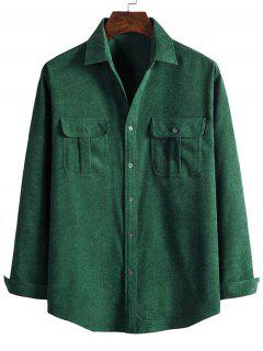 Double Pockets Button Down Corduroy Shirt - Dark Forest Green 2xl