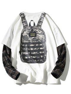 Backpack Print Plaid Faux Twinset Sweatshirt - White 2xl