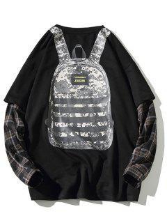 Backpack Print Plaid Faux Twinset Sweatshirt - Black 3xl