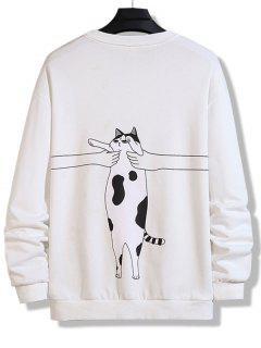 Sweatshirt Mit Buchstaben Katzen Druck Und Rundhalsausschnitt - Weiß Xs